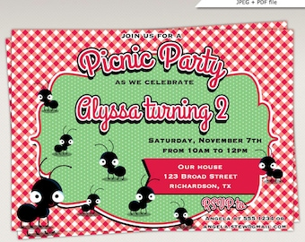 Picnic Birthday Party printable invitation #459