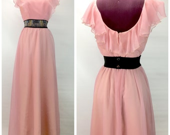 Vtg S/M Maxi Dress BRIDESMAID Pink Long Whimsicle Fairy Tale Formal