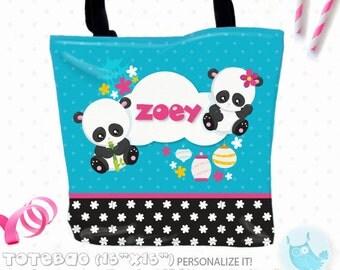 SALE panda Personalized Tote Bags, custom Tote bag, kids tote, school tote, kindergarten tote, beach tote bag, Tote Bags TB131