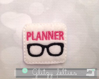 Plannerd Nerd  Feltie - Set of 4 UNCUT -  Planner Embroidered Felt Applique