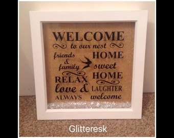 Welcome to our nest  glittered deep box frame