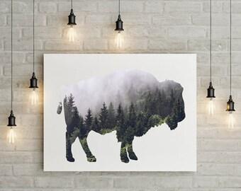 Large poster 36X48 inches Woodland Bison, mountain, buffalo, wild Buffalo, Rustic Decor, Rustic Print, Rustic, Rustic Print, Bison Printable