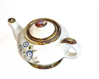English Teapot, Stoneware Teapot, Oakstone Teapot, White Teapot with Flower, Small Teapot