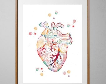 The Heart watercolor print the human heart poster medical art anatomy art heart illustration anatomical heart print surgery science art gift
