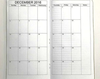 2017 Midori Travelers Notebook Inserts Monthly Calendar-Fauxdori Monthly Calendar
