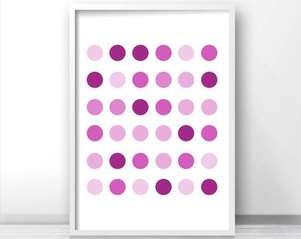 Purple Wall Art Print, Polka Dot Digital Art, Home Decor Art Print, Digital