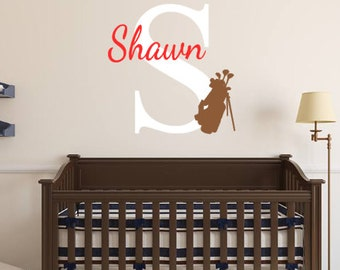 Personalized, Golf, Clubs, Name, Initial, Baby, Children, Boy, Girl, Nursery, Bedroom, Home, Decor, Sports, Tee, Ball, Bedding