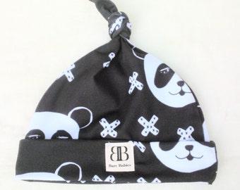Black N White Panda Bear Beanie