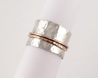 Gold and Silver Spinner Ring, Size 7.5