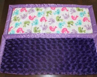 Minky baby blanket with satin binding