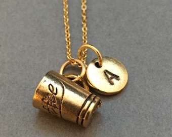 Coffee cup necklace, coffee cup charm, coffee necklace, personalized necklace, initial necklace, initial charm, monogram