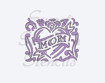 Mom in Heart Stencil