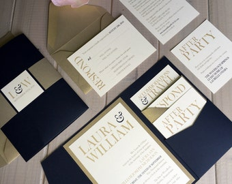 Navy and Gold Wedding Invitations, Navy and Light Gold Wedding Invitations, Navy, Gold and Ivory Wedding Invitations