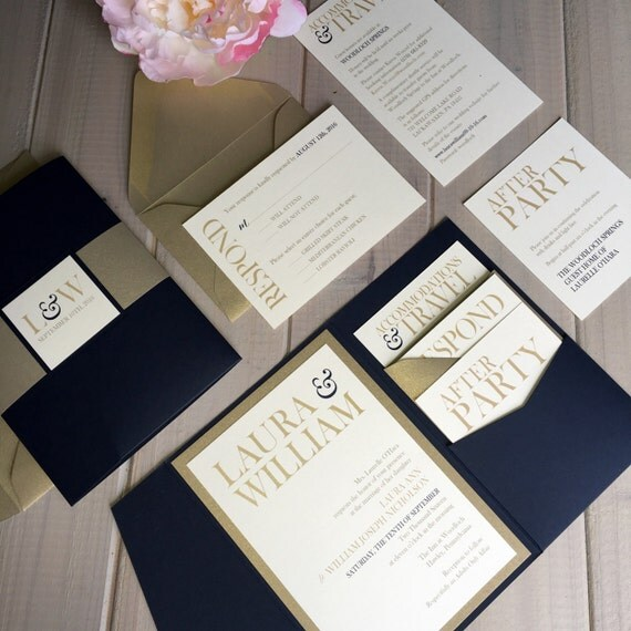 like this item - Navy And Gold Wedding Invitations