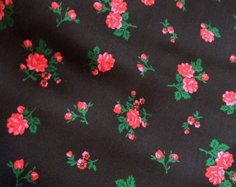 Black with small flowers wool fabric