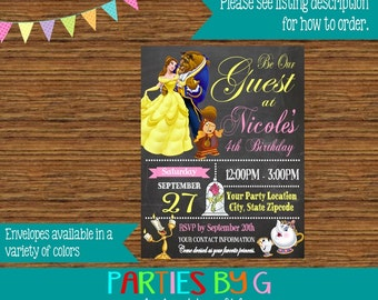 Beauty and the Beast Belle Chalkboard Birthday Party Invitations Invites Personalized Custom
