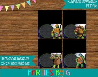 EDITABLE  ~ Instant Download Digital File ~ TMNT Teenage Mutant Ninja Turtles Food Table Tent Card Labels