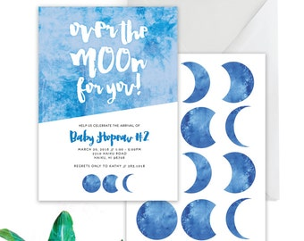 Moon Phases Baby Shower  // Moon Baby Shower Invitation, Over the Moon Invite, Love you to the moon Baby shower Invite