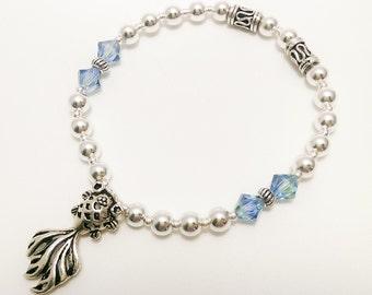 925 Sterling Silver beads fish charm + Swarovski crystal 5328 elastic Bracelet