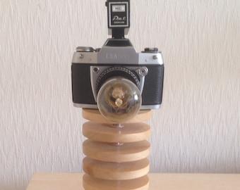 Up-cycled Camera on Wood Block Lamp