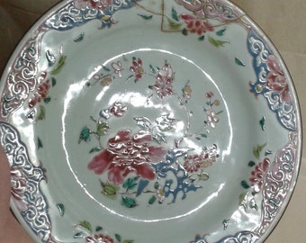 A Chinese floral plate (repaired)
