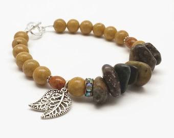 Beaded Bracelet, Brown Bracelet, Leaf Charm Bracelet, Riverstone Bracelet, Western Style Bracelet, Riverstone Jewelry