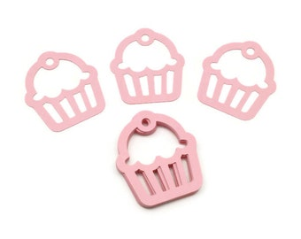 Cupcake Diecuts, Cupcake Punches, Pink Cupcakes, Birthday Party, Gift Tags, Embellishments, Set of 24