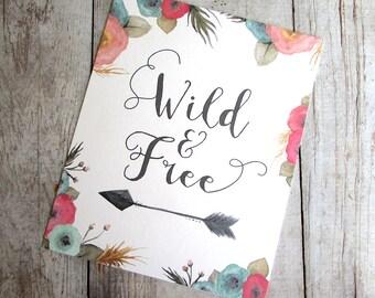 Wild and Free Watercolor Illustration Art Print Tribal Nursery Children's Room Arrow