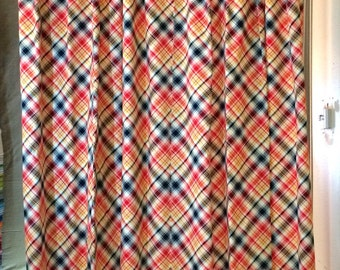 Drapery - Plaid Drapes - Curtain Panels - Red, Navy & Yellow - Window Treatments - Sold in Pairs