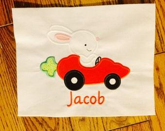 Easter Carrot Bunny Race Car Monogrammed Appliqué Shirt / Tank Top / Onesie for Baby / Kid / Toddler / Boy