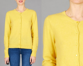 Vintage Medium / Large Buttercup Yellow Cashmere Cardigan Sweater