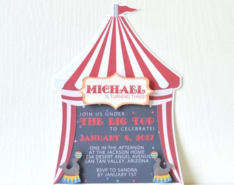 Big Top Invitation Printed or Digital: birthday, carnival, circus, animals - LRD003P