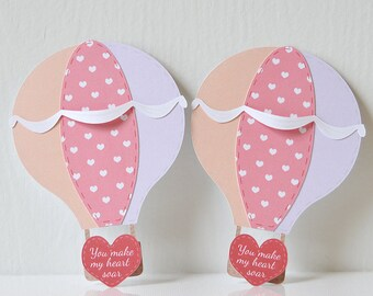 Mini Valentine's Hot Air Balloon Cards Set of 12: adventurous, pink patches, peach purple and red, you make my heart soar, ribbons- LRD012V