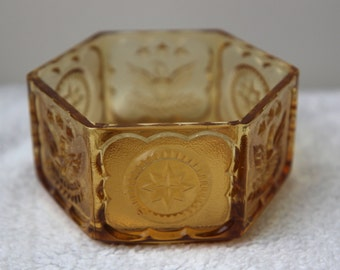 Vintage Antique Americana Yellow Glass  Candy Dish