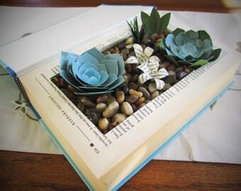 Succulent Garden, Succulent Book, Succulent Terrarium, Bookish Gift, Succulent Centerpiece, Succulent Arrangement
