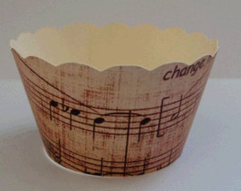 CUPCAKE WRAPPERS - Vintage Printed Music Design x 10 cup cake wraps ~ Cream CCVL30