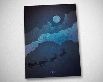 """Christmas greeting card (""""Christmas I - II"""")"""