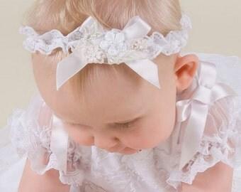 White Lace Baby Headband, Jessa Headband