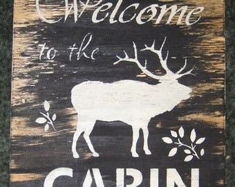 Welcome to  the cabin......moose...home decor/ cabin/ fishing/ lake/ boat