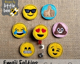emoticon feltie emoji COLLECTION ONE SET felties set embroidery applique design hoop 4x4 5x7 pes dst more Instant Download bean stitch