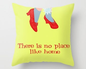 Wizard of Oz Decorative throw pillow cover-Judy Garland-Yellow pillow-Red glitter shoes-Etsy gift-16x16 pillow-18x18-20x20-Modern pillow