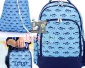 Boys Blue Fish Personalized Backpack, Lunchbox, Toddler backpack, Monogrammed backpack, School Age Backpack, Gym Bag