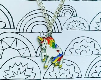 Rainbow, unicorn necklace