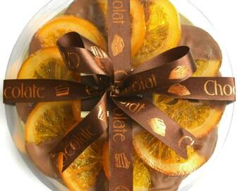 Robins and Sons Gourmet Belgian Milk Chocolate DIPPED ORANGE SLICES Birthday gift, women, men, fruit