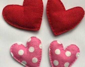 Felt Heart Hand Warmers, Red or Pink Polka Dot, Glove Mitten Rice Heater, Set of 2