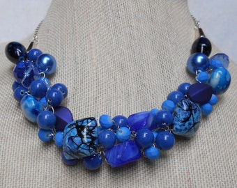 Cobalt Blue Crocheted Necklace