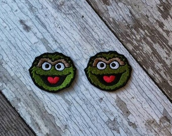READY TO SHIP!!! Oscar The Grouch Sesame Street Inspired Embroidered Iron On Patches! Ready to ship! Small 2x2 Set of two!