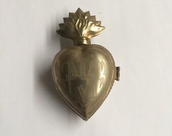 "Vintage French Sacred Heart Ex Voto Reliquary Cachette 4 3/4"" X 2 1/2"""