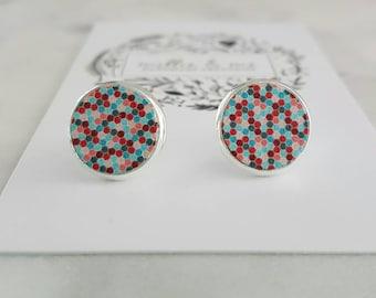 Confetti wooden disc stud earrings