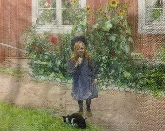 """3 Decoupage Serviette Lunch Napkins, Child Brita's Garden Carl Larsson, 13"""" x 13"""" Craft Supplies"""